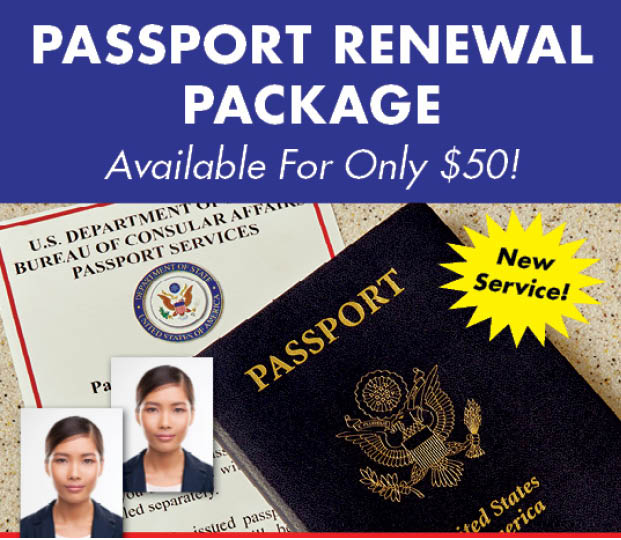 Passport Renewal Package Available for only $50